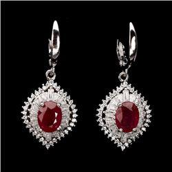 Natural Top Blood Red Ruby Earrings