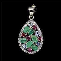 Natural Emerald Rhodolite Garnet Tanzanite Pendant