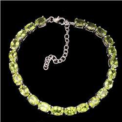 Natural  Rich Green Peridot 69 Cts Bracelet