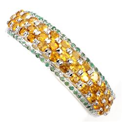 Natural Top Rich Yellow Citrine & Emerald Bangle