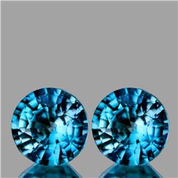 Natural Blue Cambodian Zircon Pair 6.50 MM - FL
