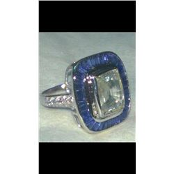 Natural White & Blue Sapphire Art Deco Gold Ring