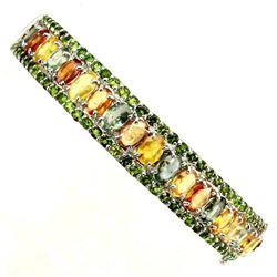 Natural Sapphire &  Chrome Diopside 96 Carats Bangle