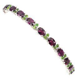 Natural Rhodolite Garnet & Chrome Diopside Bracelet