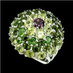 Natural Rhodolite Garnet Chrome Diopside Peridot Ring