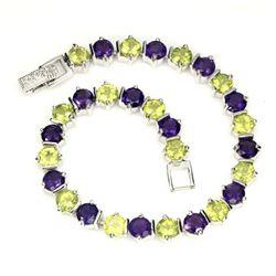 Natural Purple Amethyst Peridot 88.46 Cts Bracelet