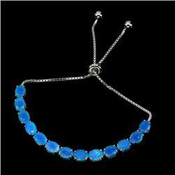 Natural Oval Ethopian Blue Fire Opal 7x5 MM Bracelet