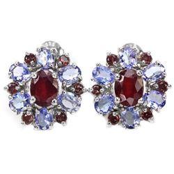 Natural RUBY RHODOLITE GARNET TANZANITE Earrings