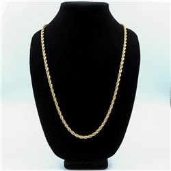 IMPRESSIVE 14 KT GOLD PLATED ROPE CHAIN NECKLACE