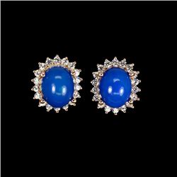 Oval Blue Fire Opal 10x8 MM Earrings
