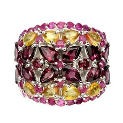 Natural Rhodolite Garnet,  Citrine & Ruby Ring