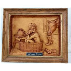 Carved Wood Relief - Saturday Night