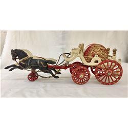Antique Cast Iron Fire Wagon Toy