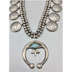 Coin Squash Blossom Necklace with Nice Turquoise
