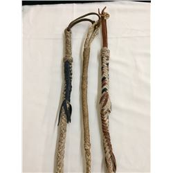 Three Rawhide and Leather Quirts