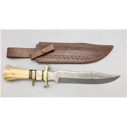 Large Damascus Bowie Knife