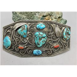 Large Turquoise and Coral Belt Buckle