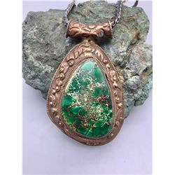 Antique Turquoise Pendant with Newer Chain