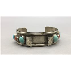 Vintage Turquoise, Coral and Sterling Silver Watch Bracelet