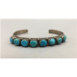 Vintage Eight Stone Carved Turquoise Bracelet