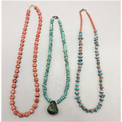 Three Turquoise and Coral Necklaces