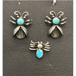 Unique Bug Earrings and Pin Set