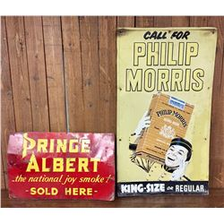 Two Vintage Tobacco Advertisement Signs