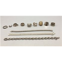 Group of Sterling Silver Rings and Bracelets