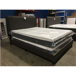 QUEEN SIZE GREY LEATHER UPHOLSTERED WITH METAL ACCENTS BEDFRAME (HEADBOARD, FOOTBOARD & RAILS)