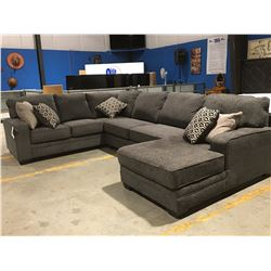 3 PCE GREY UPHOLSTERED SECTIONAL SOFA WITH 5 THROW CUSHIONS