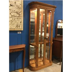 OAK BEVELED GLASS FRONT WITH CURVEX GLASS SIDES DISPLAY CABINET