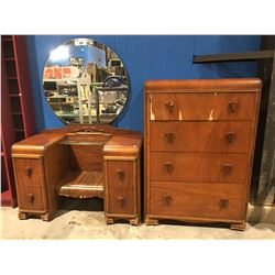 2 PCE ANTIQUE WATERFALL DRESSER SET - VANITY WITH MIRROR & HIGHBOY DRESSER (SOME CONDITION ISSUES)