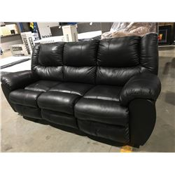 BLACK LEATHER UPHOLSTERED RECLINING SOFA