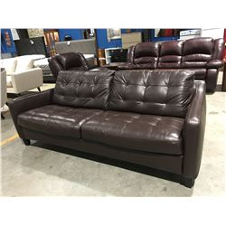 BROWN LEATHER UPHOLSTERED CONTEMPORARY SOFA