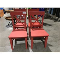 SET OF 4 ORANGE PAINTED WOODEN SIDE CHAIRS
