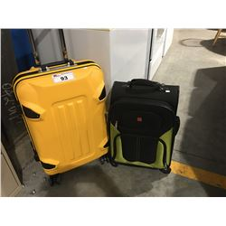 YELLOW HARDSHELL TRAVELERS SUITCASE & SWISSGEAR BLACK & GREEN CARRY-ON