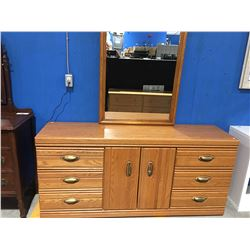 OAK BEDROOM DRESSER WITH MIRROR