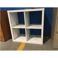 WHITE 4 CUBBY STORAGE SHELF UNIT