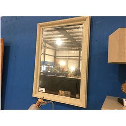 """PAINTED WHITE WOODEN FRAMED BEVELED WALL MIRROR - 29"""" X 41"""""""