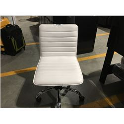 WHITE & CHROME LEATHER UPHOLSTERED OFFICE CHAIR