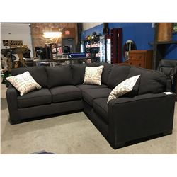 2 PCE CHARCOAL GREY UPHOLSTERED SECTIONAL SOFA WITH 3 THROW CUSHIONS