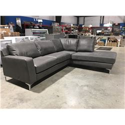 2PCE STORM CLOUD GREY UPHOLSTERED SECTIONAL SOFA