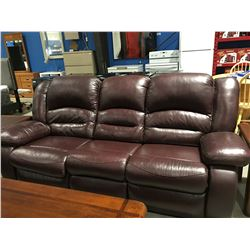 2 PCE MAROON LEATHER RECLINING SOFA & CHAIR SET