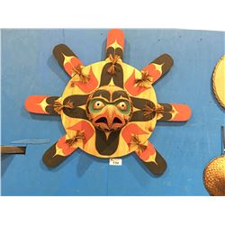 CARVED CEDAR EAGLE SUNMASK WITH COPPER EYES & TONGUE - 4.5' DIAMETER BY FIRST NATIONS  ARTIST