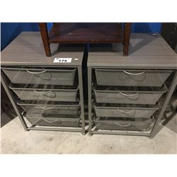 2 - 4-DRAWER STORAGE TABLES & 1 SMALL BENCH SEAT