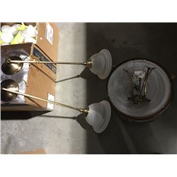 4 PCE ELEGANT BRASS & FROSTED GLASS LIGHT SET, 2 DOME CEILING LIGHT FIXTURES & 2 HANGING LIGHT
