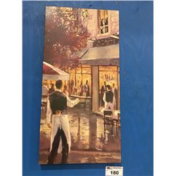 """FRAMED OIL ON CANVAS TRANSFER PRINT """"5TH AVE CAFE"""" APROX 17.75"""" X 35.5"""""""