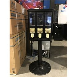 3 SECTION COIN OPERATED PEDESTAL CANDY DISPENSER (KEYS IN OFFICE)