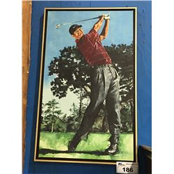 FRAMED GICLEE OIL ON CANVAS TRANSFER PRINT GOLFER TIGER WOODS SIGNED LIMITED EDITION 51/150 BY