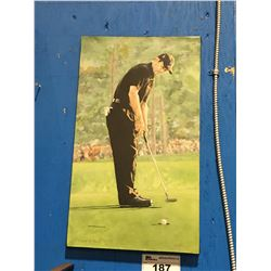 GICLEE OIL ON CANVAS TRANSFER PRINT GOLFER MIKE WEIR SIGNED LIMITED EDITION 63/150 BY
